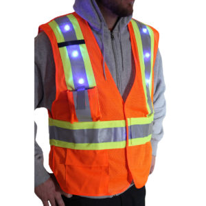 ANSI Class 2 Vest with LED Lights and X Reflective Back