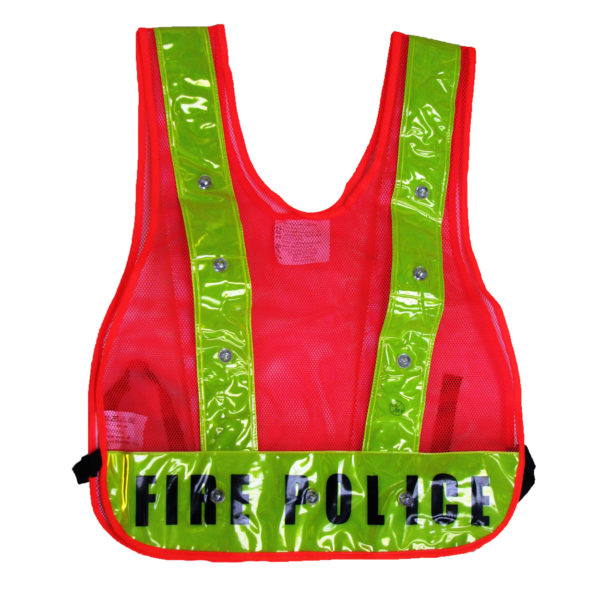 Class 1 - LED Vest Orange Mesh with FIRE POLICE