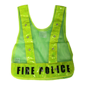 Class 1 - LED Vest Green Mesh with FIRE POLICE